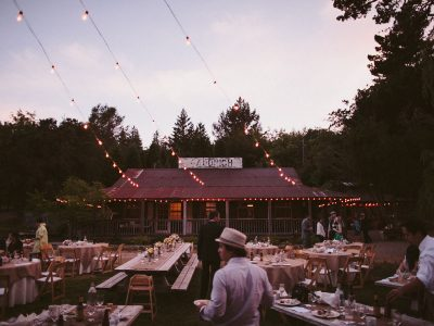 Twinkle lights at ranch wedding