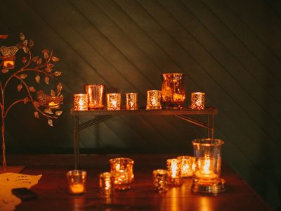 Ranch wedding, Copper candles