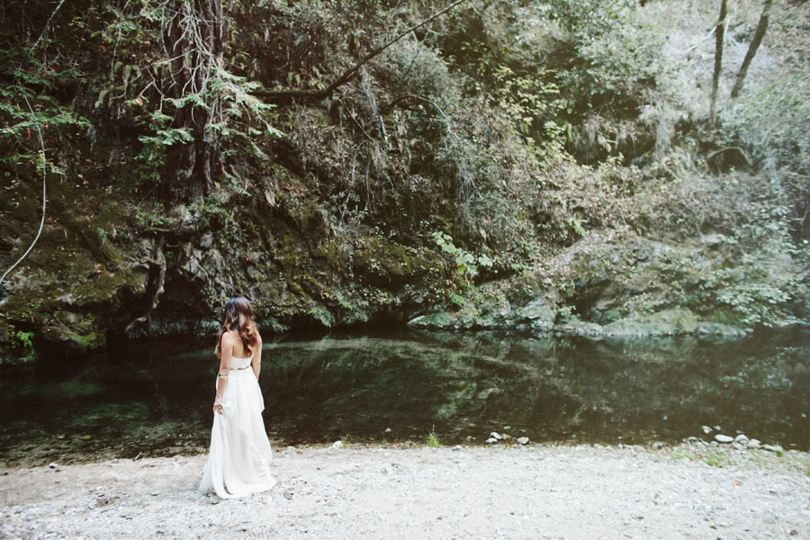 Elopement, Bride just married, Wedding along the river