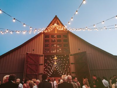 twinkle lights, barn wedding in Carmel