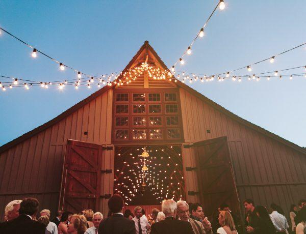 twinkle lights, barn wedding in Carmel