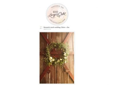wedding wreath on barn